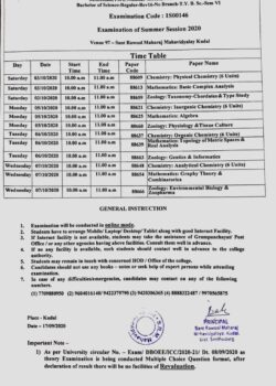 Time Table: Mumbai University Exam Second Half 2020