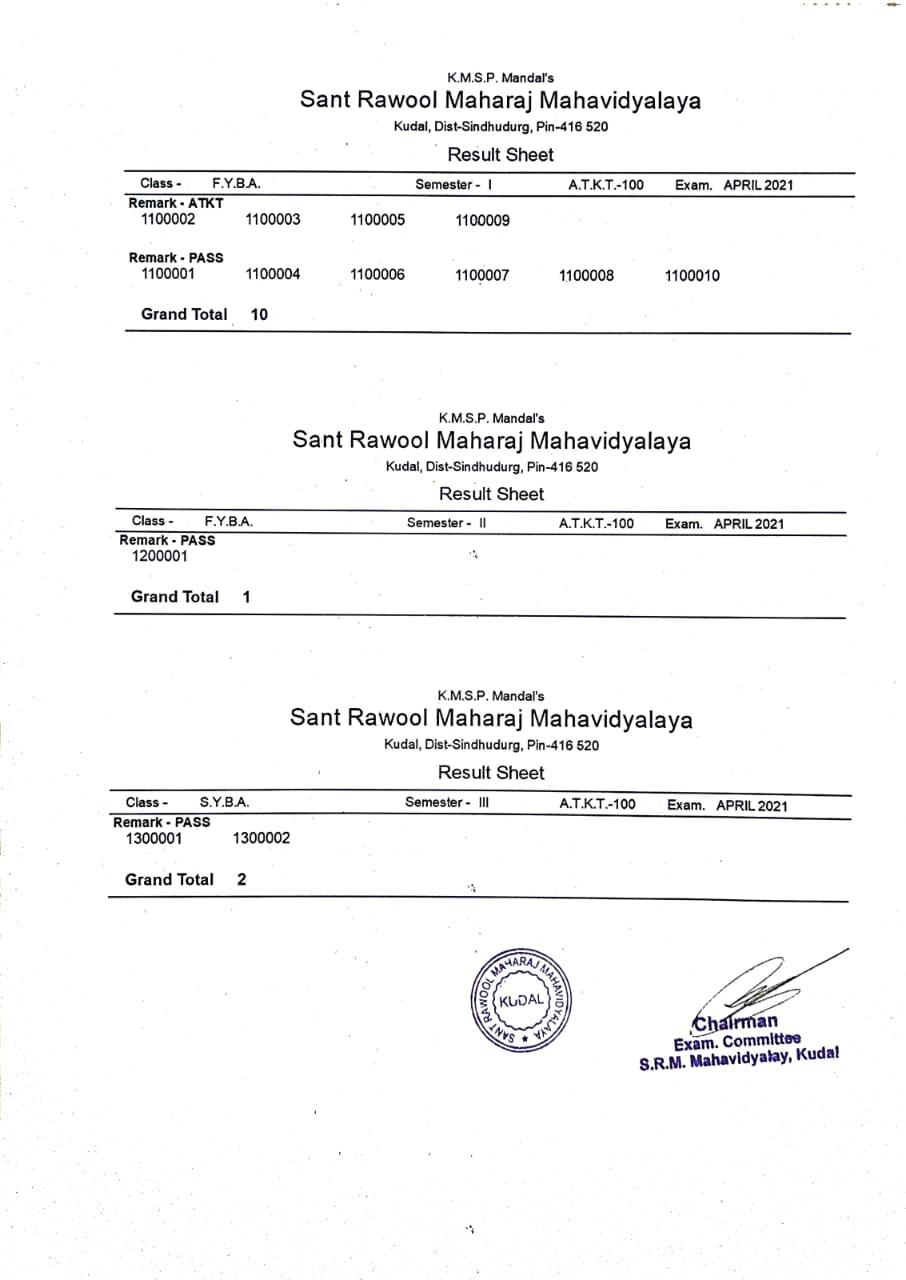Result: Sem. I, II, III & IV – ATKT May 2020-21